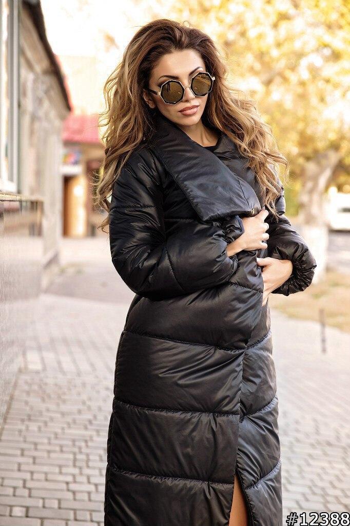 Теплое осеннее стеганное пальто женское из плащевки с объемным шалевым воротом
