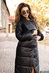 Тепле осіннє стеганное пальто жіноче з плащової тканини з об'ємним шалевим коміром