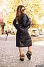 Теплое осеннее стеганное пальто женское из плащевки с объемным шалевым воротом, фото 2