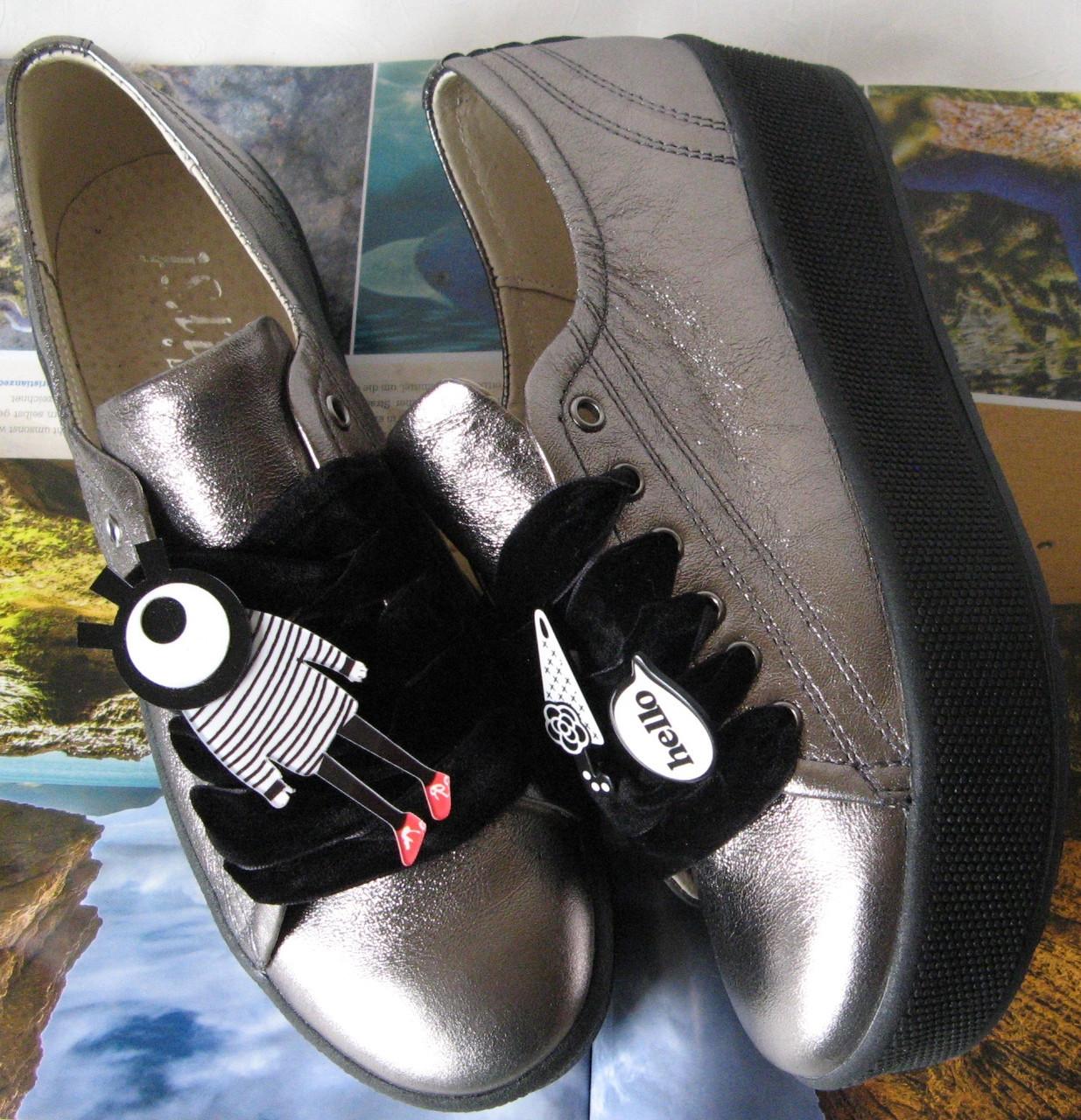 Жіночі демісезонні шкіряні кеди туфлі кросівки кольору сріблястий нікель  снікерси сліпони шкіра 02c569ebf7833