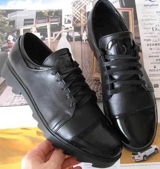 Демісезонні шкіряні жіночі туфлі в стилі Шанель чорні кеди осінь весна  сліпони натуральна шкіра лак a24db40a2252f