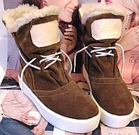 Стильні жіночі зимові чоботи уггі шоколадного кольору 2deb641cf1b59