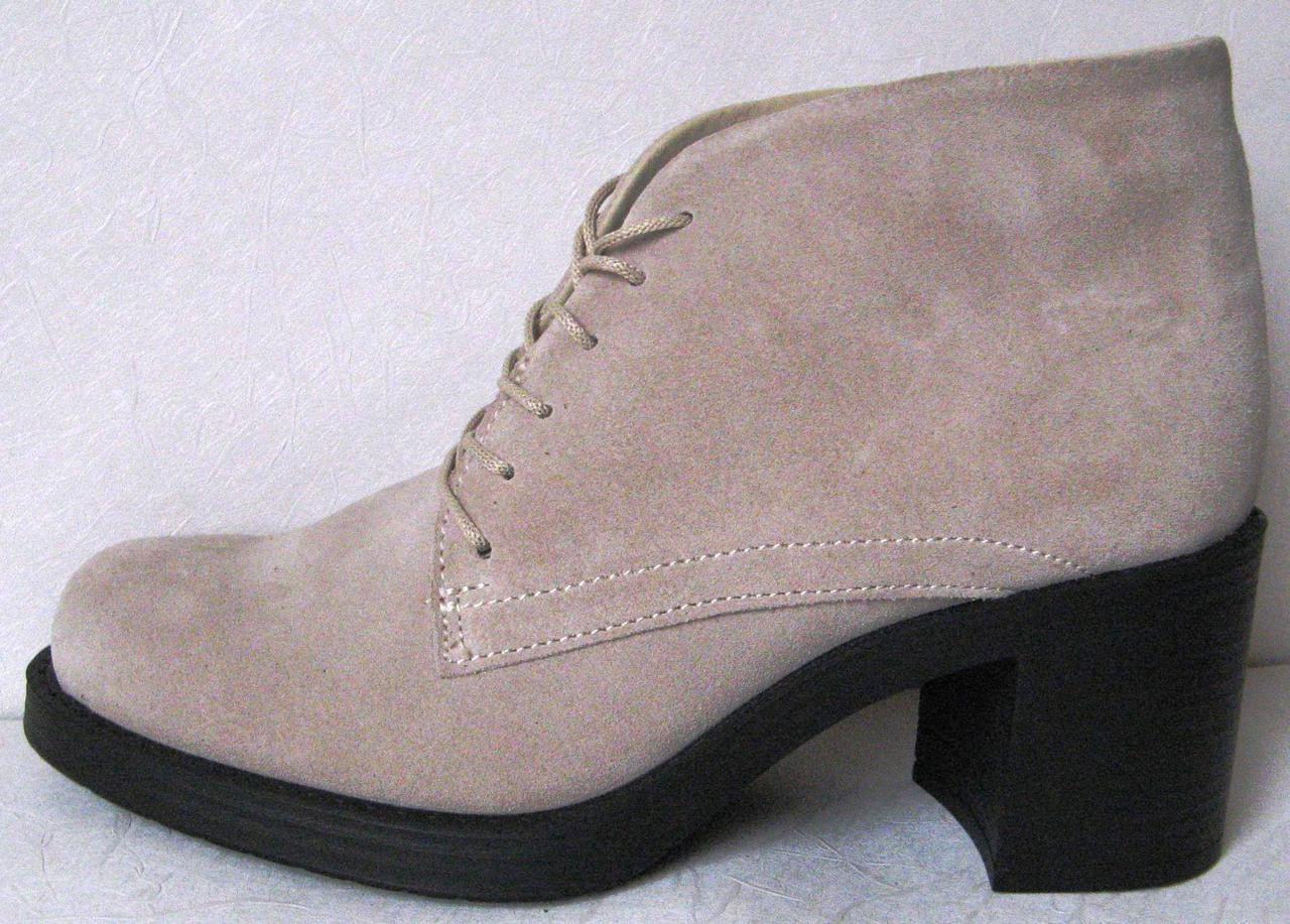 Жіночі весняні бежеві черевики Trend зручні підбори натуральна шкіра та  замша весна осінь e74a2c21450f6
