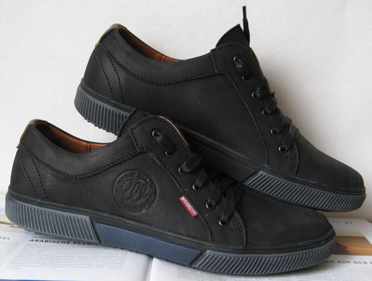 Чоловічі демісезонні чорні кеди Wrangler! осіннє взуття шкіряні туфлі в  стилі Вранглер черевики  7a5436b61b417