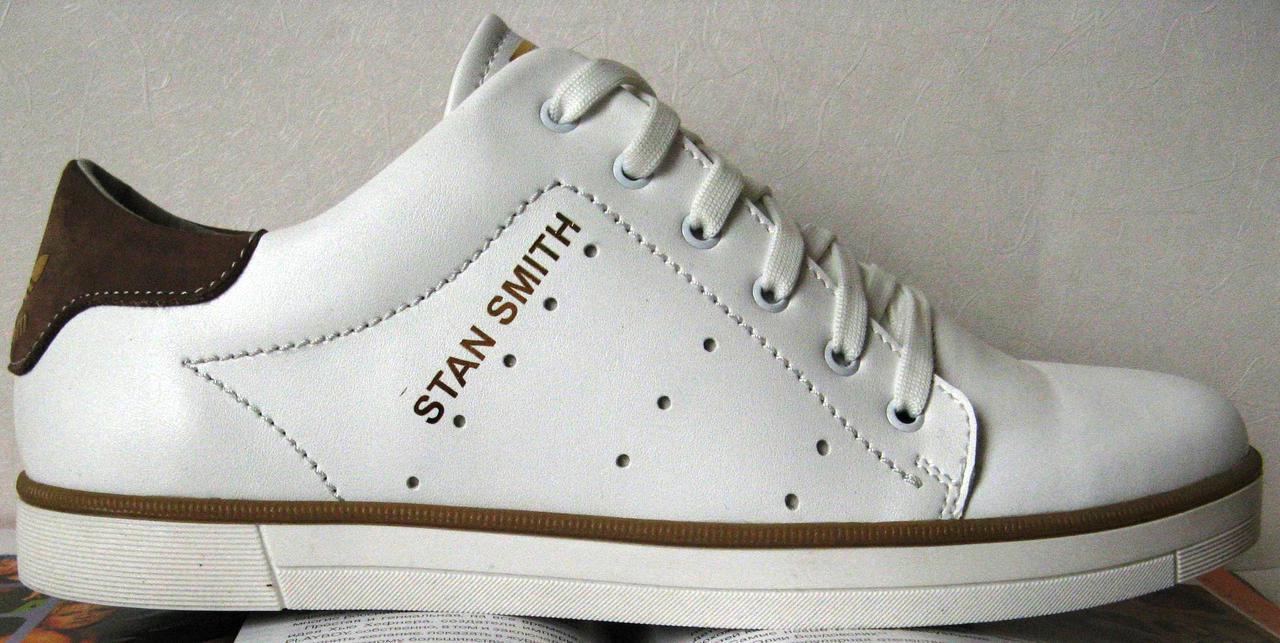 Adidas чоловічі та підліткові стильні шкіряні кросівки STAN SMITH кеди  репліка білого кольору натуральна шкіра decdd9892019c