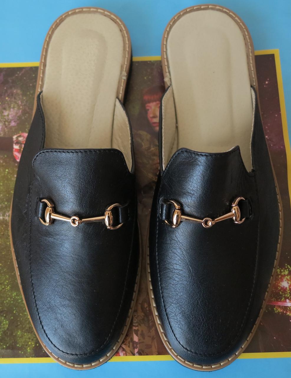 Мюлі стиль чорні Gucci жіночі шкіряні сабо на низькому ходу з закритим  носком босоніжки шльопанці Гучі 7ff30811c1270