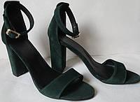 Viva літо! жіночі стильні босоніжки смарагдові каблук 10 см натуральні  шкіряні або замшеві туфлі Viva c8482fa834f01