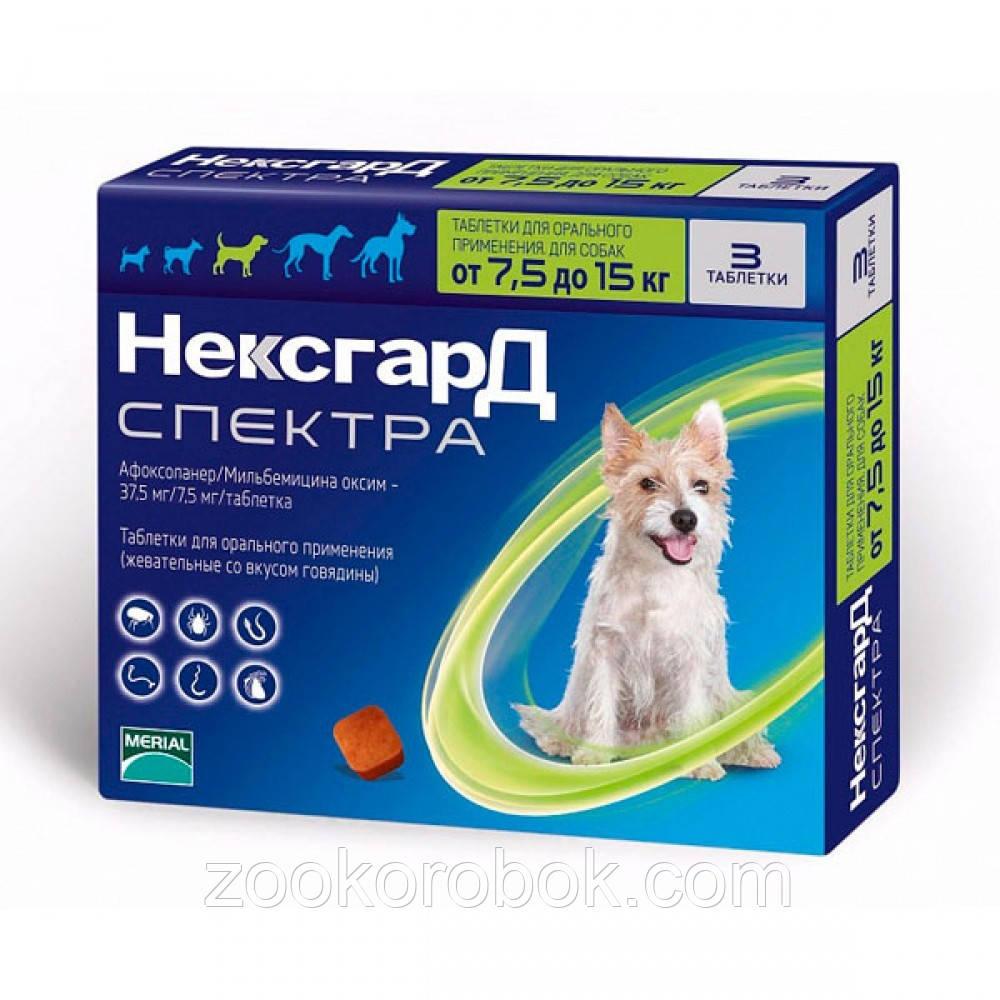 Merial NexGard Spectra таблетка от блох и клещей для собак 7,5-15 кг, M / 1 табл
