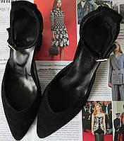 Стильні та зручні жіночі замшеві туфлі Limoda з натуральної замші босоніжки на підборах 6 см каблук чорні