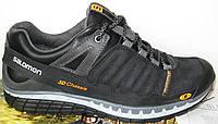 Чоловічі шкіряні кросівки в стилі Salomon натуральна замша чорні демісезонні осінь весна