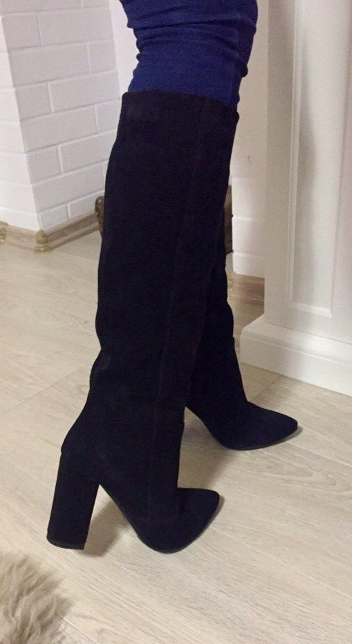 03f9ed683de6fc Демісезонні стильні чорні жіночі чоботи Angel натуральна замша каблук 10 см