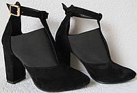 Туфлі жіночі чорні з гумкою на підборах 10 см натуральна замша ботильйони  Mante Rio замшеві 43fea552b192f