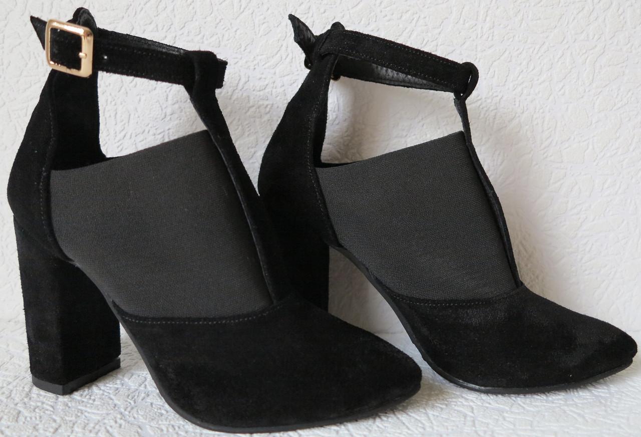 a4ebcd15df4977 Туфлі жіночі чорні з гумкою на підборах 10 см натуральна замша ботильйони  Mante Rio замшеві -