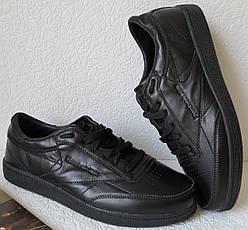 7ef6a23d5b9ae0 Кросівки в стилі Reebok Club C 85 Black чоловічі шкіра натуральна рібок  репліка