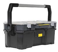 """☑️ Ящик инструментальный 67x32x25см съемный кейс, прозрачню крышка""""Stanley"""" объем 53 л, нагрузка 18 кг, фото 1"""