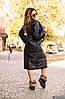 Теплое осеннее стеганное пальто женское из плащевки с объемным шалевым воротом, фото 3
