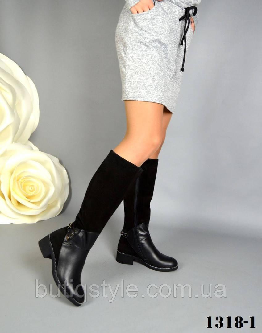 39, 41 размер! Зимние комбинированные черные сапоги натуральная кожа + замш европейка