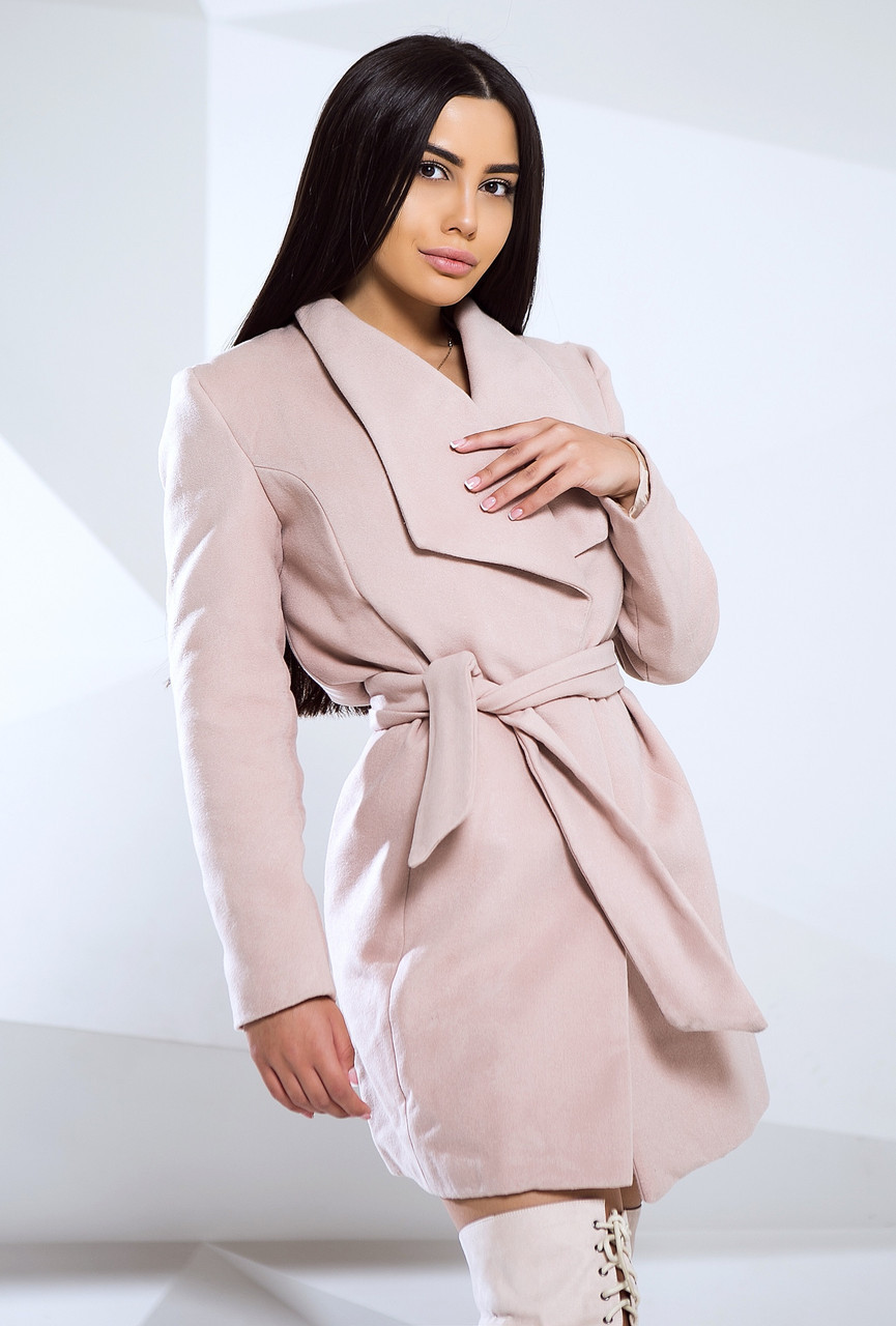 Стильное осеннее кашемировое пальто женское с поясом на запах