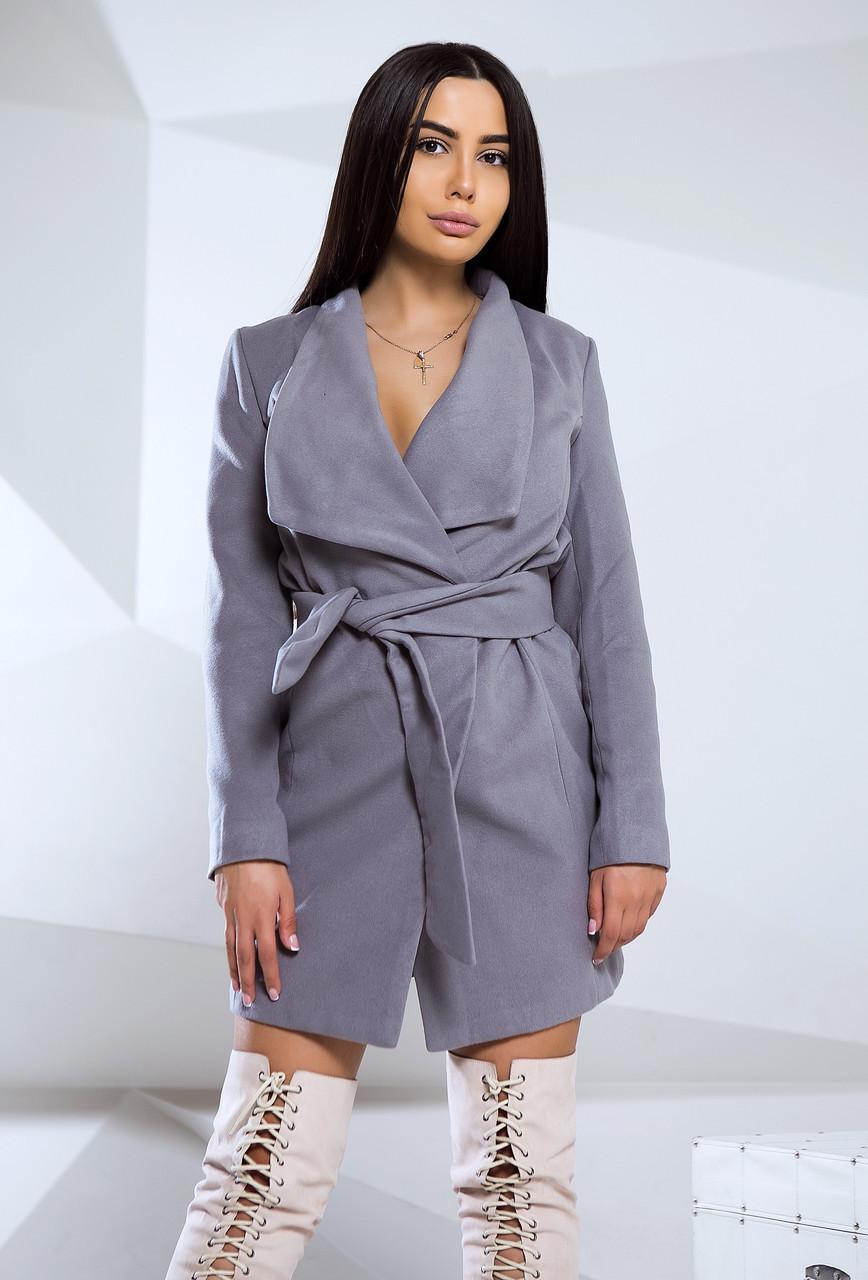 9307be7b372 Стильное осеннее кашемировое пальто женское с поясом на запах ...