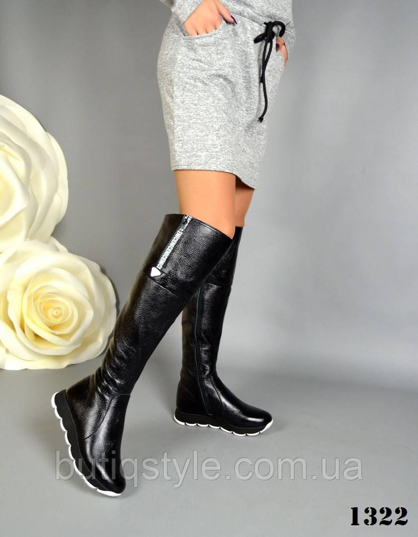 37, 38, 41 размер! Ботфорты женские зимние черные натуральная кожа мех европейка