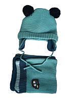 Комплект (Франция) шапочка с ушками и шарф нежно-бирюзового цвета для мальчика 6,9,12 месяцев
