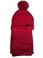 Комплект (Франция) шапочка и шарф малинового цвета для девочки 2 года 3 года