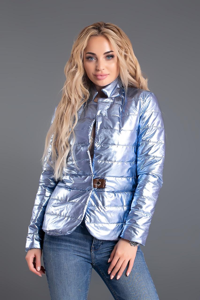 Короткая стеганая модная куртка женская с воротником стойкой