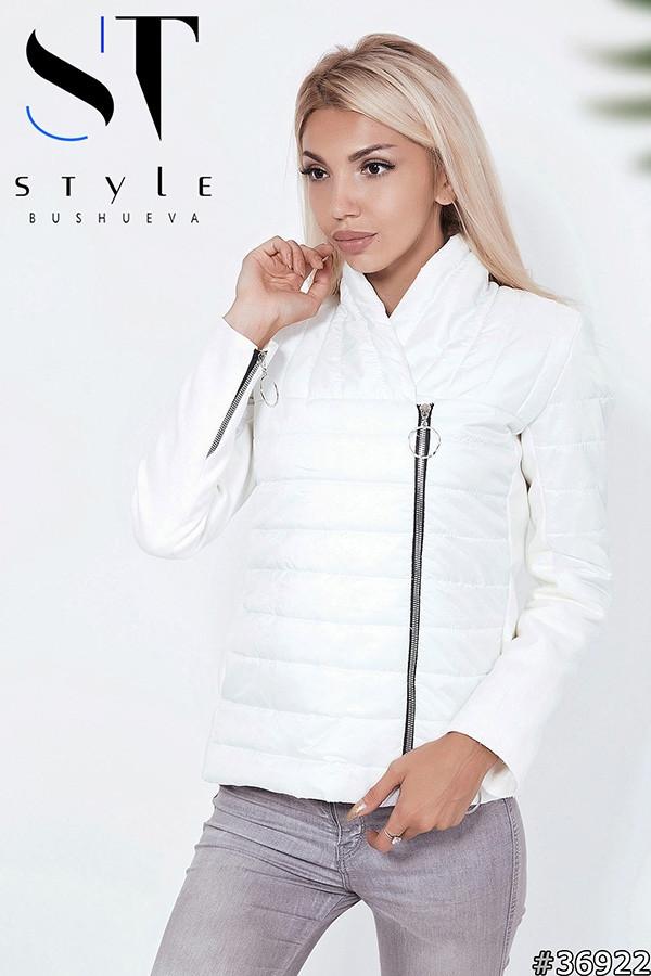 Оригинальная женская демисезонная куртка стеганая с кашемировыми вставками и змейками на рукавах