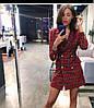Женское элегантное платье-пиджак в клетку