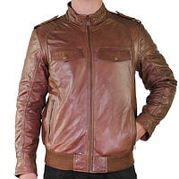 Xelement Mens Cognac Bomber Leather Jacket