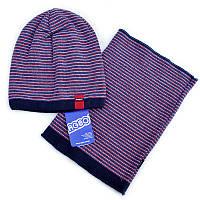 Весенний комплект в полосочку (шапка и хомут) для мальчика.Agbo (Польша)