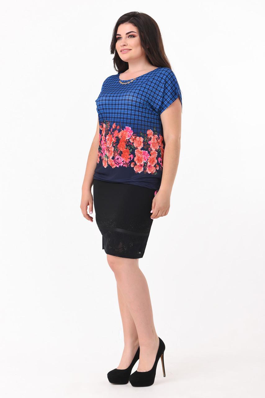 Легкая яркая блуза в морском стиле большой размер 50-58