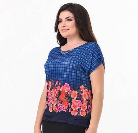 Легкая яркая блуза в морском стиле большой размер 50-58, фото 2