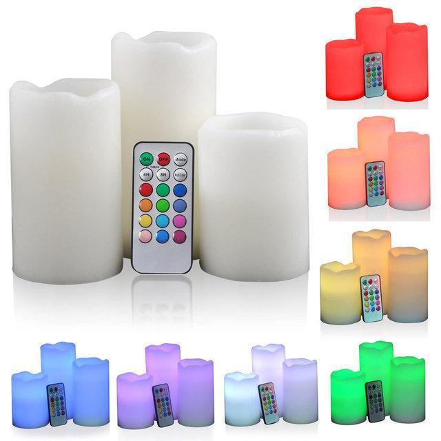 Комплект светодиодных свечей разной высоты с пультом управления, ночник Luma Candles Color Changing