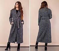 Пальто женскоечёрный меланжБукле с люрексом норма и Батал