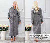 Пальто женскоесерый меланжБукле с люрексом норма и Батал