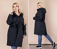 Куртка Плащёвка длинная чёрная капюшоном норма и Батал