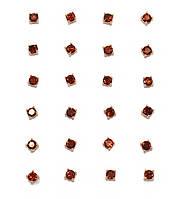 Серьги - гвоздики,12 пар, фирма Xuping.Камни: красный циркон. Цвет: позолота. Диаметр серьги 3 мм.