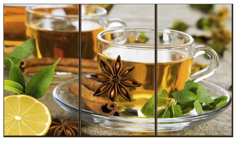 """Картина на стекле """"Чай с мятой и корицей"""""""