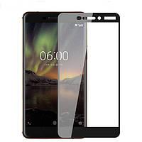 3D Full Glue защитное стекло для Nokia 6 2018 / Nokia 6.1 Черное (клеится вся поверхность)