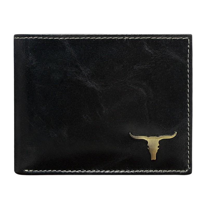 Мужское кожаное портмоне RM-05-BAW Black