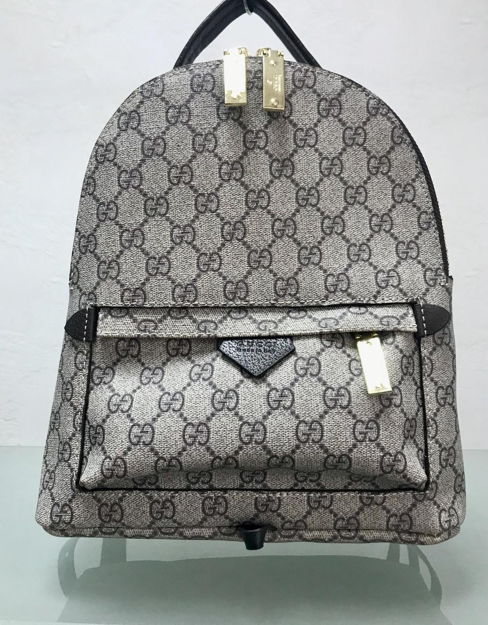 Сумка рюкзак Gucci бежевый в логотипах