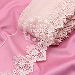 Кружево с вышивкой по одному краю, цвет светло-розовый, ширина 13 см, фото 3