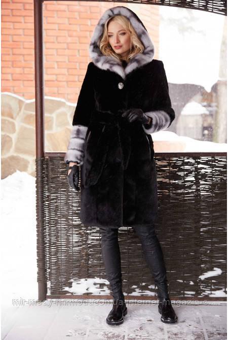 Женская шуба  Рокси черный№ 6207 с 42 по 52 размер(вр)