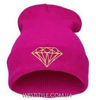 Розовая шапка Diamond з алмазом