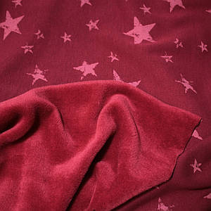 Трикотаж на меху принт звезды на бордовом