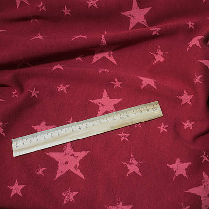 Трикотаж на меху принт звезды на бордовом, фото 2