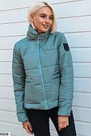 Молодежнаядемисезонная курткана вискозной подкладке, с высоким воротником-стойкой  Размер от 42-46