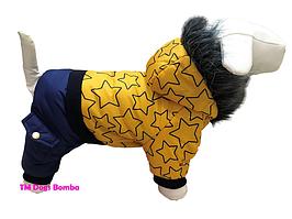 Зимний комбинезон для собак желтые звезды
