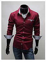 Стильная мужская сорочка (Бордо)